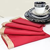 Milano Home Rose & Leaf Maroon Set of 4 Napkins
