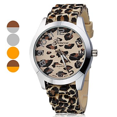 M.M.Women'S Leopard Print Pattern Dial Silicone Band Quartz Analog Wrist Watch (Assorted Band Colors)
