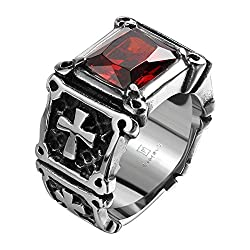 Sorella'z Silver Plated 316L Red Zircon Bikers Ring (Size US 9)