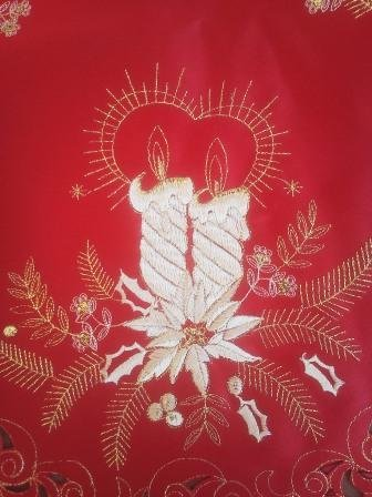 "36"" Christmas Holiday Table Runner Or Dresser Scarf Embroidered On Red Material With Gold Candles"