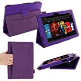 rooCASE Dual Station (Purple) Folio Case Cover for Amazon Kindle Fire HD 8.9 Inch Tablet - Auto Sleep and Wake (NOT Compatible with Fire HD 7-Inch)