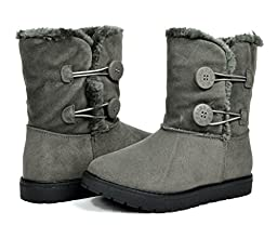 Dream Pairs KUTTON Girls Winter Double Buttons Fully Fur Lining Kids Snow Boots Grey Size 9