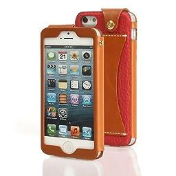 Wetherby Premium Bar Apple iPhone 5 Luxury 100% Handmade Genuine Leather Flip Case [Red]