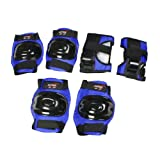 Como Men Women Adjustable Straps 3 in 1 Palm Elbow Knee Support Gear Set Black Blue