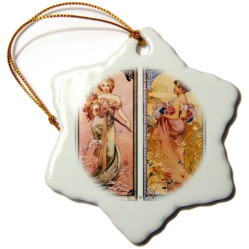 orn_180624_1 Florene - Art Deco And Art Nouveau - Image of noveau dual paintings of spring and summer ladies - Ornaments - 3 inch Snowflake Porcelain Ornament