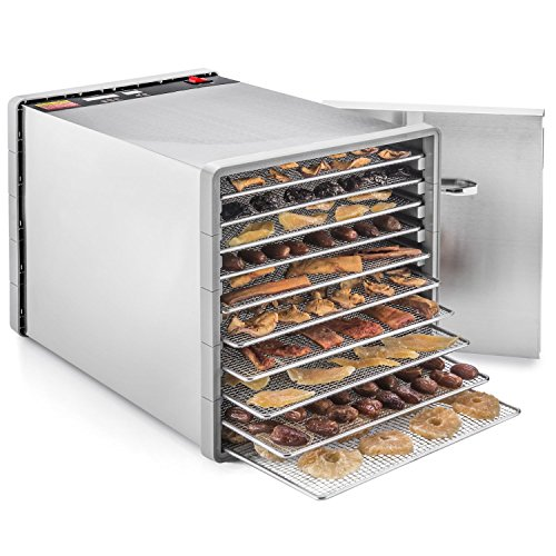 STX International STX-DEH-600W-SST Dehydra 10 Tray Food and Jerky Dehydrator with 40 Hour Timer, 600W, Stainless Steel (Dehydrators Stainless compare prices)