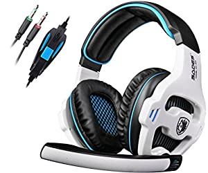 SADES SA810 Stereo Gaming Headset headphone for PC with Volume-Control Microphone (Black and white)