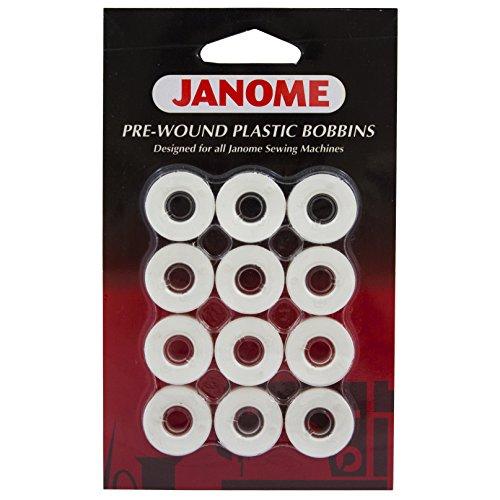 Janome 12 Pack Pre-Wound Plastic Bobbins White Thread (Janome 100 Sewing Machine compare prices)