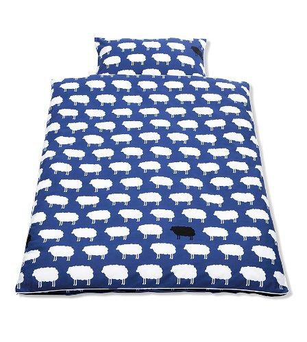 Pinolino-630522-1-Bett-und-Kopfkissenbezug-fr-Kinderbetten-Happy-Sheep-blau