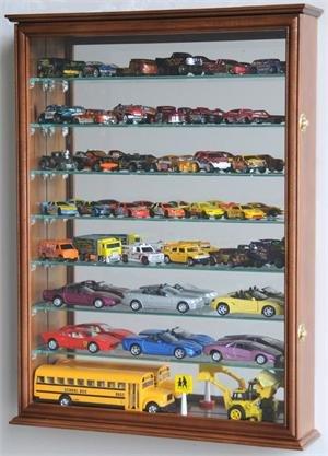 Large Mirrored Back Hot Wheels / Matchbox / Diecast / Train Display Case Cabinet, Walnut