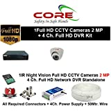 CORE 4-CH FULL HD DVR 2-MP ( 1080P). WITH 1-TB HARD DISK , 2-MP DOME CAMERA 1-PC, 4-CH POWER SUPPLY , 3+1 WIRE ROLL, WITH BNC /DC CONNECTORS COMBO PACK.