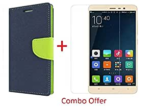 RIdhaniyaa (COMBO OFFER) for (Xiaomi Redmi Note 3) Wallet Flip Cover + Premium Tempered Glass Screen Protector - - (Blue,Green)