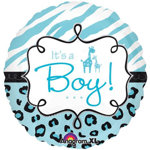 "Sweet Safari Its a Boy 18"" Balloon Baby Shower Jungle Animal Print"