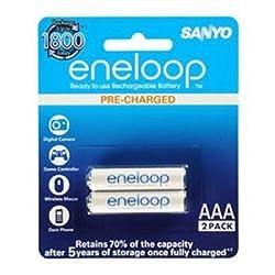 Sanyo BK-4MCCE/2BN Eneloop AAA 800 mAh Rechargeable Battery, 2-Piece