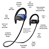 Bluetooth Sports Headphones with Mic,Extra Bass HiFi with 12 hours Battery,IPX7 Waterproof Wireless Earbuds,CVC 6.0 Noise Cancelling for Running Gym Workout Earphone (Blue)