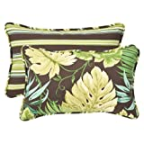 Pillow Perfect Decorative Green/Brown Tropical/Striped Reversible Toss Pillow, Rectangle, 18-1/2 Length, 2-Pack