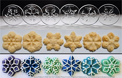 Snowflakes 6 Disk Set for Cookie Presses (SIZE M disks for presses that came with METAL disks) (Order Made On January 16th compare prices)
