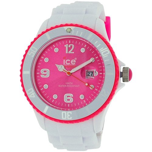Ice Ladies-Girls Pink Dial Date White Silicone Strap Classy Watch Si.Wp.B.S.12