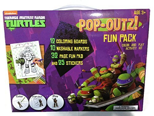 Teenage Mutant Ninja Turtles Pop-Outz! Fun Pack - 12 Coloring Boards, 10 Markers, 32 page Fun Pad, & 25 Stickers - 1