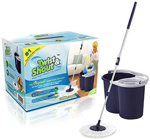 Award Winning Newest Version Twist and Shout Mop – The Original Spin Mop Driven By Hand Push