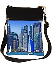 Snoogg White And Blue Boat Cross Body Tote Bag / Shoulder Sling Carry Bag