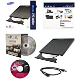 Samsung SE-218GN/RSBD Ultra Slim 9.5mm M-Disc DVD CD External Burner Writer Drive Retail Box + FREE 1pk Mdisc + Installation Disc + USB Cable