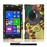Artistic Beautiful Design Nokia Lumia 1020 Elvis (AT&T / Microsoft Windows Phone 8) Hard Protector Cover Case + Bonus Long Arch 5.5 Baby Blue Screen Cleaning Cloth + Bonus 4 Metallic Black Capacitive Stylus Pen (Green Leaf Antique Totem)