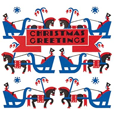 Horse and Sleigh Pack of 10 Christmas Cards (Square)||EVAEX