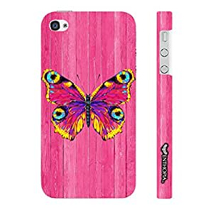 Enthopia Designer Hardshell Case Butterfly on a Pink Wall Back Cover for Apple IPhone 4