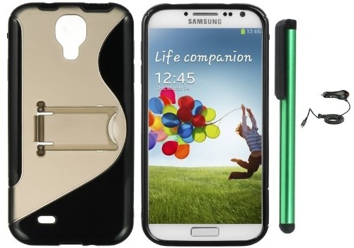 #>>  Samsung Galaxy S4 i9500 Combination - S-Shape TPU Cover Case with Kick-Stand Case / Car Charger / 1 of New Assorted Color Metal Stylus Touch Screen Pen (Black / Smoke Grey)