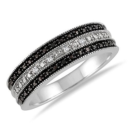 925 Sterling Silver Black & White Accent Diamond 3-Row Band Ring Size 5, 6 and 7