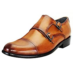 BRUNE Tan Color 100% Genuine Leather Double Monk Strap Shoes For Men size-6