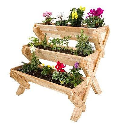 cedarcraft cascading garden planter 3 tier landscape lighting