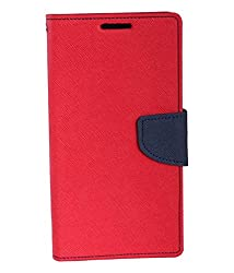 Mahi Max Flip Case Cover With Card Slots And Magnetic Closure For Xiaomi Redmi 2 -(RED,BLUE)