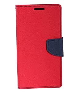 Mahi Max Flip Case Cover With Card Slots And Magnetic Closure For Samsung Galaxy E5 -(RED,BLACK)
