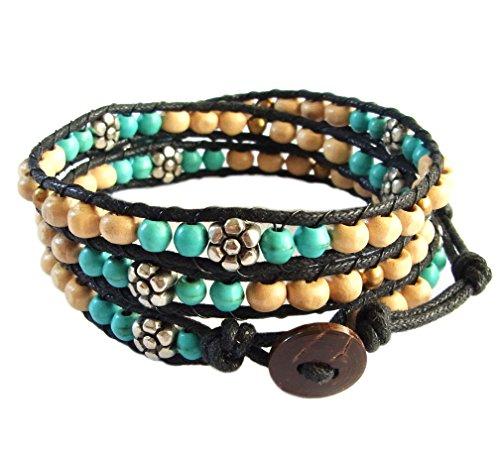 lun-na-asiatique-bracelet-wrap-fait-main-100-perles-en-bois-laiton-fleur-rhodium-turquoise-couleur-b