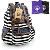 DAKIA Cute & Pretty Girls Canvas and PU leather Stripe Backpack for School/ Travel/Daily use