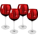 Artland Cambria 18 Ounce Ruby Goblet Wine Glass, Set of 4