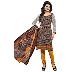 Rajnandini Women's Ethnic Wear Brown & mustard pure cotton Printed Unstitched salwar suit Dress Material (Free Size)