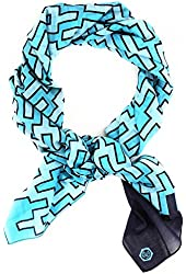 Jonathan Adler Women's Stepped Chevron Turquoise Navy Wrap Scarf