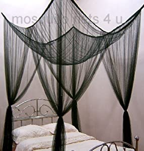 Mosquito nets 4 u black square bed canopy for Rectangle bed canopy