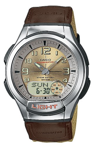 Casio AQ-180WB-5BVES Gents Watch Quartz Analogue Golden Dial Beige Nylon Strap