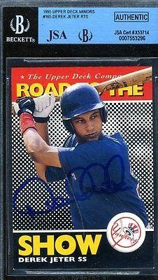 Derek Jeter Rookie Bgs Authenticated Autograph 1995 Upper Deck Signed - JSA Certified - Baseball Slabbed Autographed Rookie Cards