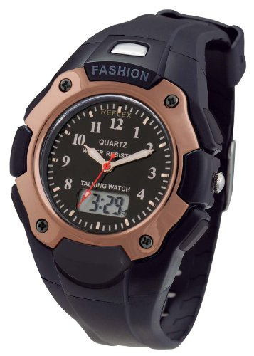 Reflex Gents Analogue Digital Talking Black Plastic Strap Watch TALK202
