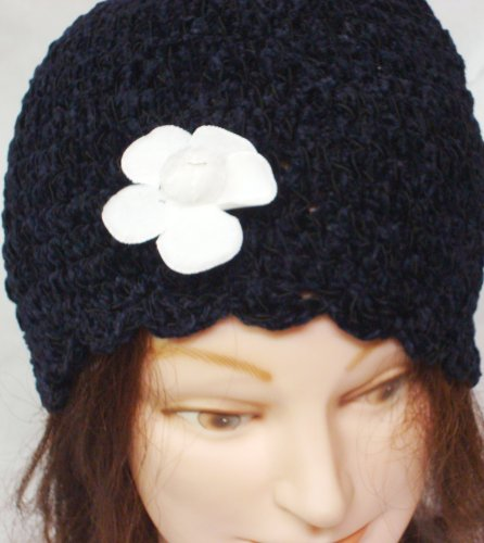Hand Crocheted 100% Black Rayon Chenille and Gimp Skull Cap for Women and Teens Trimmed with White Velvet Flower