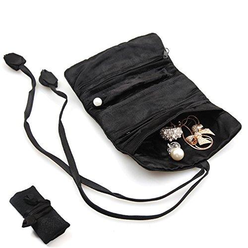 KingOfHearts™ Mini rouleau de soie bijoux, Case Voyage portable pour Bijouteries, Bagues, boucles d'oreilles, colliers, bracelets, Organisateur souple pour entreposage - Noir