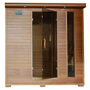 Harvil Retreat 6-Person Straight Red Cedar Sauna with Carbon Infrared Heaters