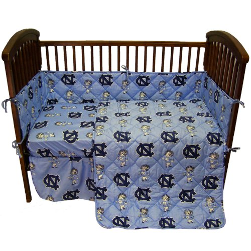 "North Carolina Tar Heels 5 Piece Crib Set And Matching Window Valance/Drape Set (Drape Length 84"") - Entire Set Includes: (1) Reversible Comforter, (1) Bed Skirt , (2) Fitted Sheets, (1) Bumper Pad And (1) Matching Window Valance/Drape Set - Drape Length front-933285"