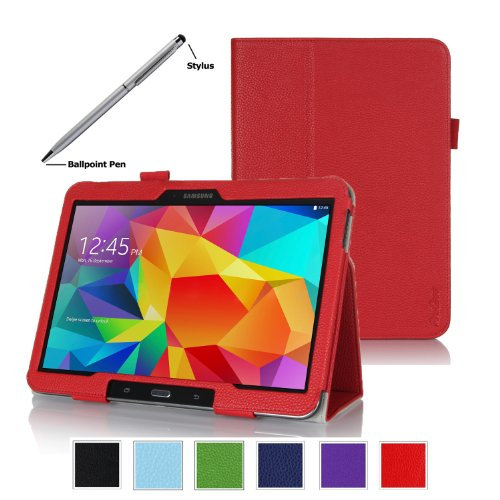 Procase Samsung Galaxy Tab 4 10.1 Tablet Case With Bonus Stylus Pen - Bi-Fold Stand Cover Case For 10 Inch Galaxy Tab 4 (2014 Released), With Auto Sleep/Wake, Hand Strap, Also Compatible With Galaxy Tab 3 10.1 (Red)
