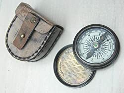 Poem Compass Road Not Taken Robert Frost with leather Storage Case